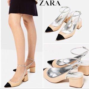 Zara Nude Contrast Cap Toe Slingback Block Heels